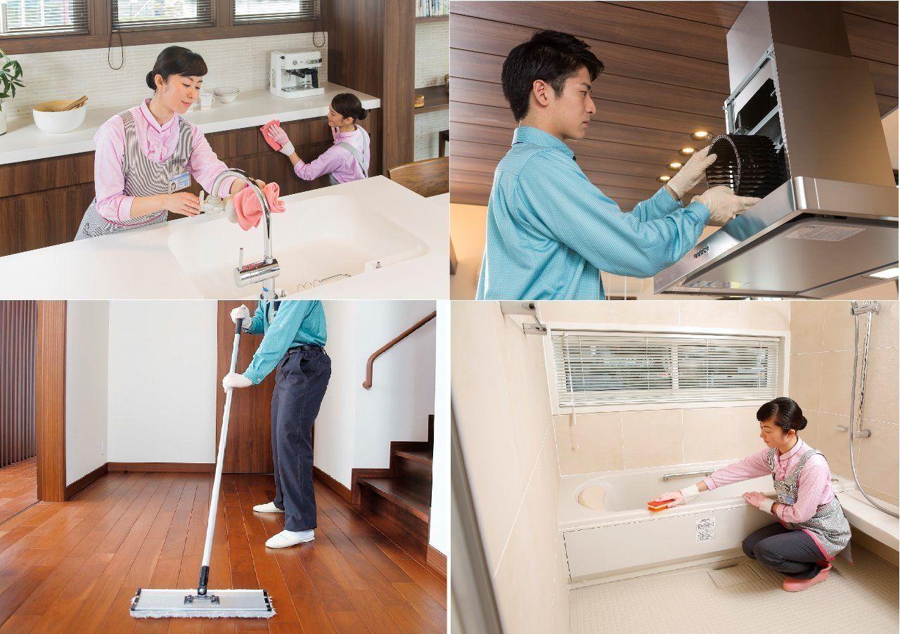 キッチン、浴室、トイレ、窓などいろいろな掃除をまとめて引き受けます