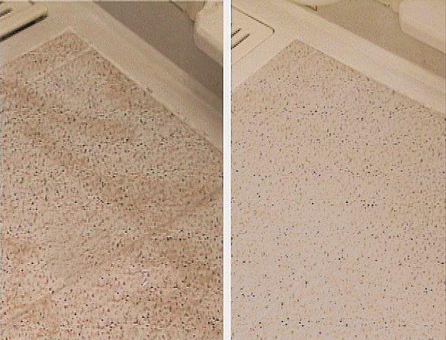 プロのお掃除でこんなにキレイに 床面が元の色へ戻っています